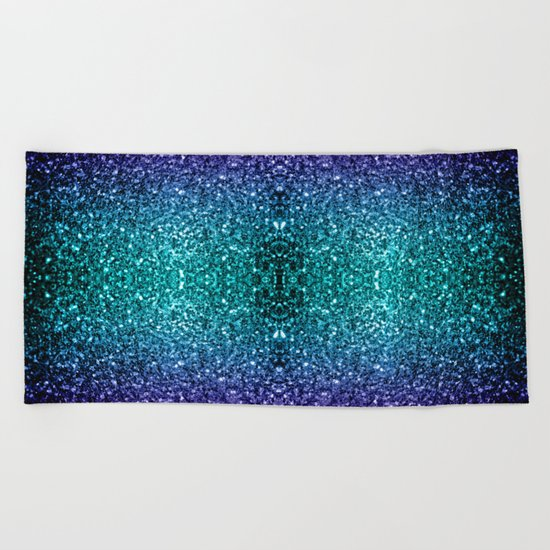 Beautiful Aqua blue Ombre glitter sparkles Beach Towel