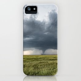 High Risk - Wide Angle View of Tornado in Kansas iPhone Case