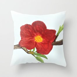Bright Red Plumb Blossom Throw Pillow