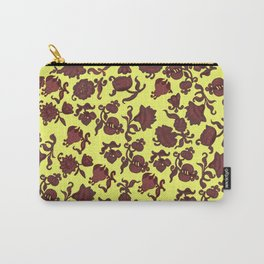 red flowers and leaves . art Carry-All Pouch