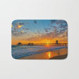 Painted Sky Over Huntington Beach Pier. Bath Mat