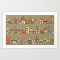 City {Housylands - brown} Art Print
