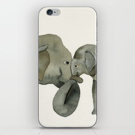 Mom and baby elephant iPhone Skin