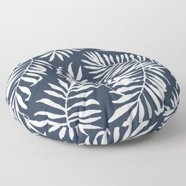 Tropical Palm Leaves - Navy Blue Floor Pillow