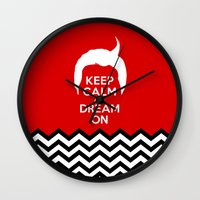 dale cooper Wall Clocks featuring Keep Calm And Dream On (Dale Cooper's Hair, Twin Peaks) by Welcome to Twin Peaks