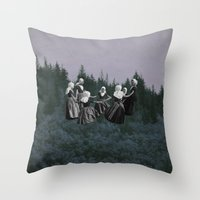 dancing Throw Pillows featuring DANCING. by Mrs Araneae