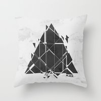 carnage Throw Pillows featuring PLACE Triangle V2 by Sitchko Igor