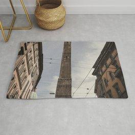 Two Towers, Bologna, Emilia Romagna, Italy, street photography, Torre degli Asinelli, italian city Rug