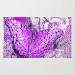 Ultra-violet butterfly and abstract background Rug