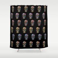 skulls Shower Curtains featuring skulls by Nastya Bo