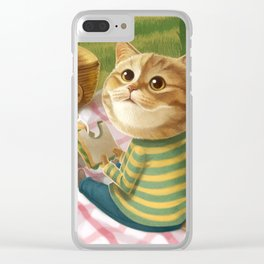 A cat is having a picnic Clear iPhone Case