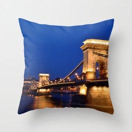 Chain bridge over Danube river, Budapest city Throw Pillow
