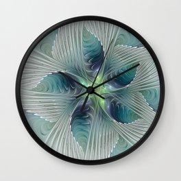 A Floral Fantasy, Abstract Fractal Art Wall Clock