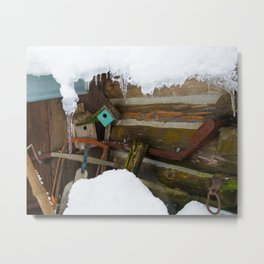 Winter Rustic Charm Metal Print
