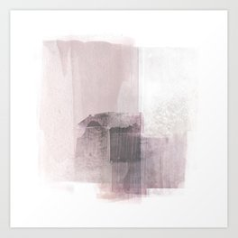 Blush Pink Square Minimalist Abstract Painting Art Print