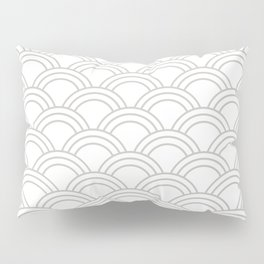 White & Gray Japanese Seigaiha Wave Pillow Sham