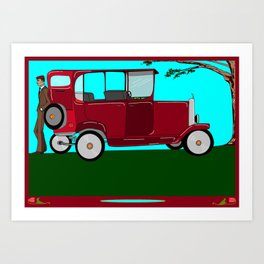 A Man and his Vintage Car Art Print