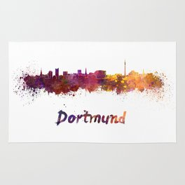 Dortmund skyline in watercolor Rug