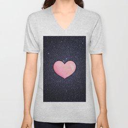Pink heart on shiny black Unisex V-Neck