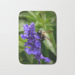 Bumble Bee on Veronica Spike Speedwell Flower by Teresa Thompson Bath Mat