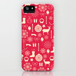 White Objects Christmas Pattern iPhone Case