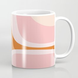 Retro Groove Pink and Orange - Cheerful Abstract Minimalist Pattern Coffee Mug