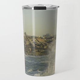 Wave Crashing on the Rocks in Brazil Travel Mug