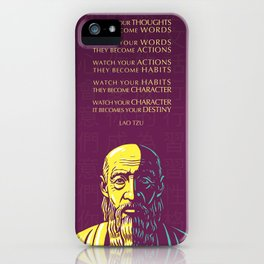 Lao Tzu Inspirational Quote: Watch your thoughts iPhone Case