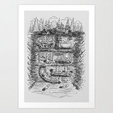 Mr Beaver's Wonder Dam Art Print