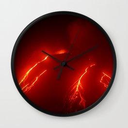 Night eruption volcano Klyuchevskaya Sopka in Kamchatka Peninsula Wall Clock