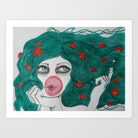 bubblegum Art Prints featuring Bubblegum by LisaMMurphyArt