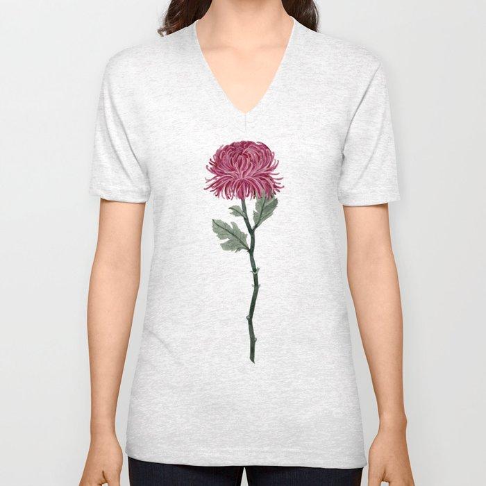 Pink Chrysanthemum Unisex V-Neck