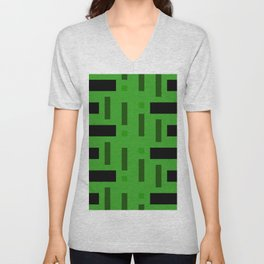 Pattern of Squares in deep Green Unisex V-Neck