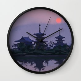 Yakushiji at Sunset Wall Clock