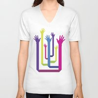 hands V-neck T-shirts featuring Hands by Sitchko Igor