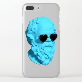 Socrates wearing heart shaped sunglasses and being blue Clear iPhone Case
