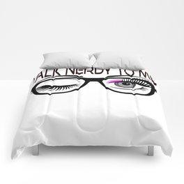 Talk Nerdy To Me Geek Glasses Winking Eye Pink Shadow Comforters