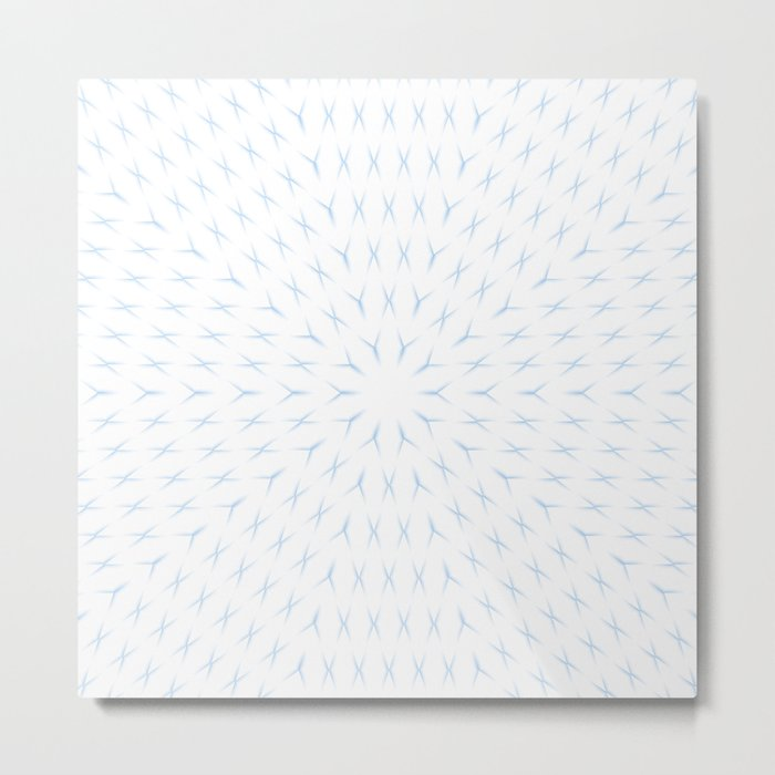 PCT2 Fractal in Ice Blue on White Metal Print