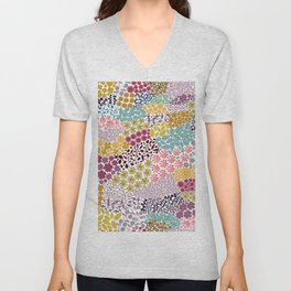459-Colorful hand drawn ditsy retro floral cute pattern white background Unisex V-Neck