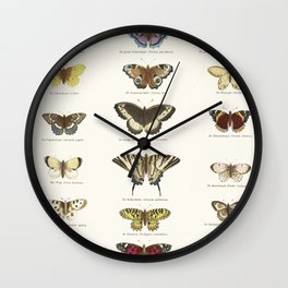 Vintage Butterfly Chart Wall Clock