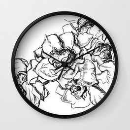 Flowers Line Drawing Wall Clock