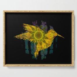 Hummingbird Boho Sunflower Psychedelic Golden Print Serving Tray
