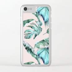 Tropical Palm Leaves Turquoise Green Coral Pink Clear iPhone Case