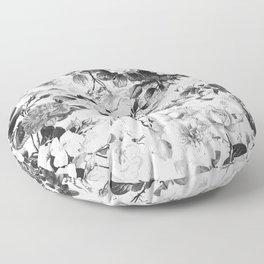 Black gray modern watercolor roses floral pattern Floor Pillow