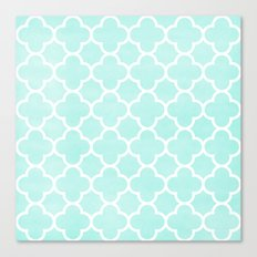 MOROCCAN {TEAL & WHITE 2} Canvas Print