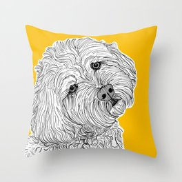 Cockapoo Dog Portrait ( yellow background ) Throw Pillow