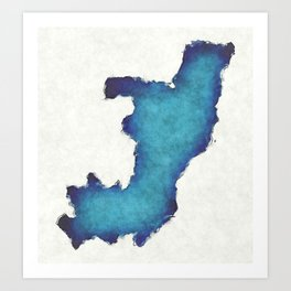 Congo Republic map with drawn lines and blue watercolor illustration Art Print