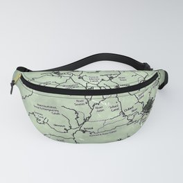 aged canal map Fanny Pack