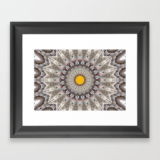 Lovely Healing Mandalas in Brilliant Colors: Black, Ecru, Gray, Silver, Orange, and Yellow Framed Art Print