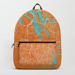 Hamburg, Germany, Gold, Blue, City, Map Backpack